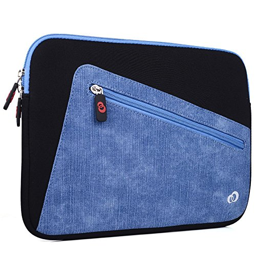 "Kroo Vortex Sleeve W/Accessory Pocket fits Polaroid 9-inch, S9, Ematic 10"" Genesis Prime XL Tablet (Black/Riverside Blue Universal Case) -  EnvyDeal, ND11VXK1