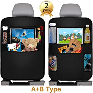 Car Back Seat Organizer, 2Pcs Oxford Waterproof Car Front Seat Protector, Multi-Pocket Car Hanging Storage Bag for iPad Tablet Bottle Drink Tissue Box Toys Vehicles Travel Accessories