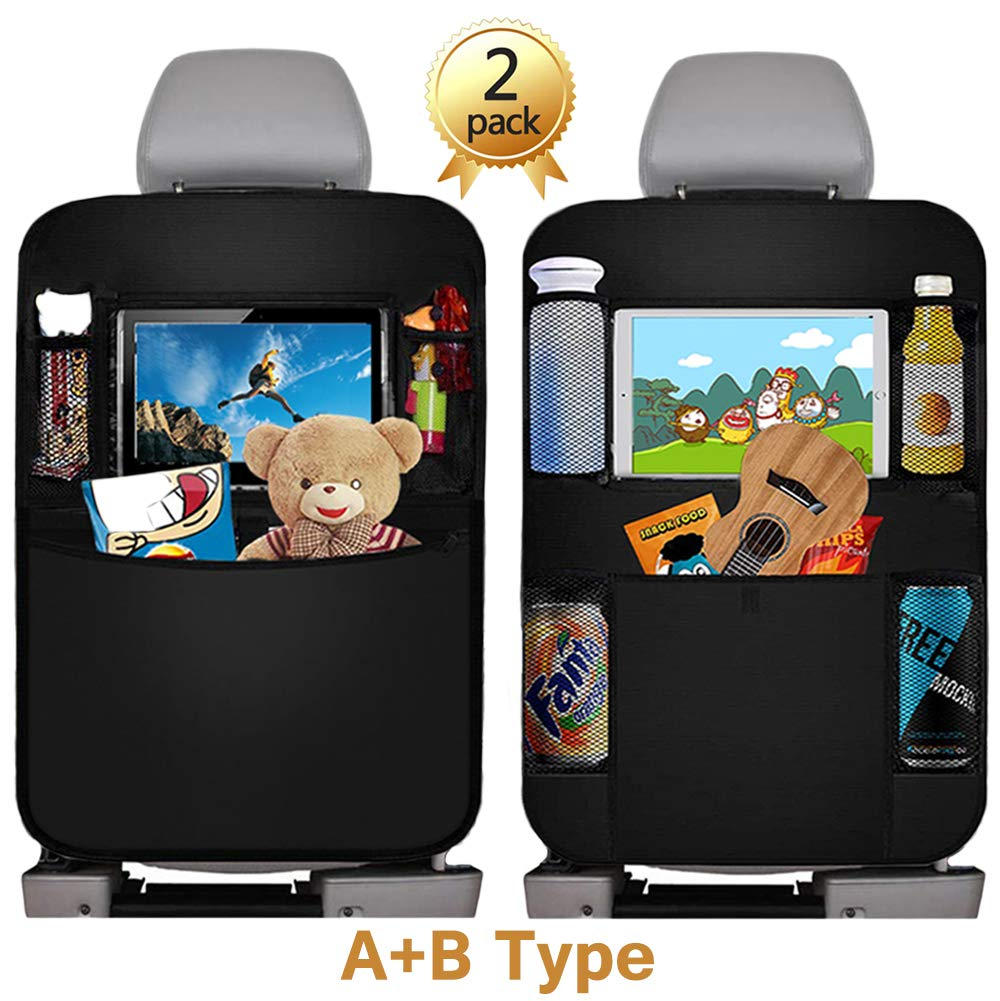 Car Back Seat Organizer, 2Pcs Oxford Waterproof Car Front Seat Protector, Multi-Pocket Car Hanging Storage Bag for iPad Tablet Bottle Drink Tissue Box Toys Vehicles Travel Accessories by BS ONE