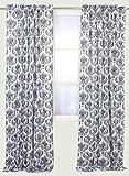 Bacati – Classic Damask White/black Curtain Panel