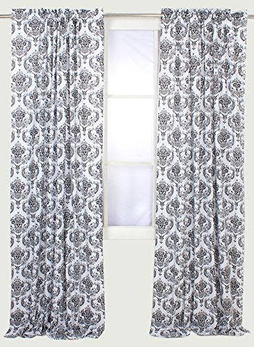 Bacati - Classic Damask White/Black Curtain Panel (Black Curtain White And)