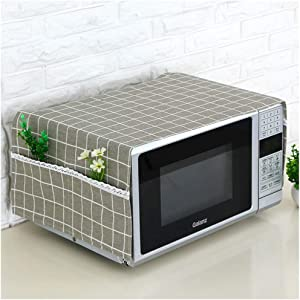 Microwave Oven Dustproof cover, Microwave Protective Cover ,Bettop Anti-Dust Linen Fabric  Microwave Dustproof Cloth Cover with Storage Pockets (Dark Lattice)