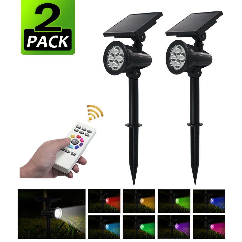 PowerKing Flood Light LED Outdoor Remote Solar Flood Light For Garden (8 color,2 pcs) by PowerKing (Image #1)
