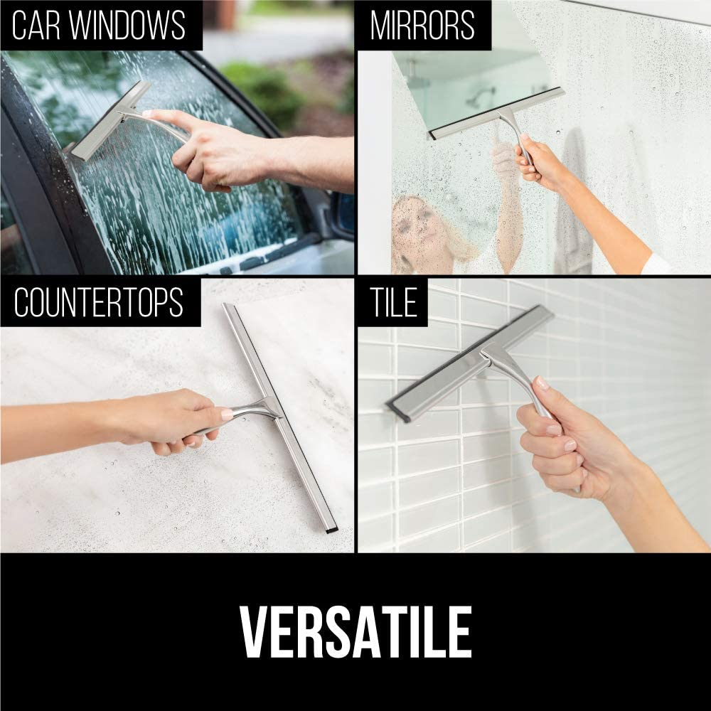 Home Mirrors White and Car Windows Streak Free Shine 10 Inch Squeegees Easily Clean Bathroom Showers Door Includes Holder Durable Handle Gorilla Grip Premium Shower and Window Squeegee