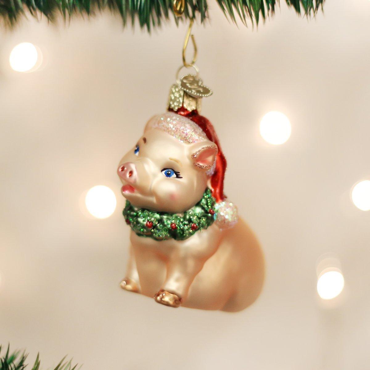Old World Christmas Big Pig Glass Blown Ornament