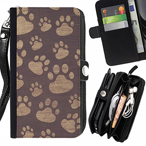 Prints Paw Wallet (FJCases Paws Print Animal Card Holder Wallet with Strap and Zipper Cover Case for Apple iPhone 7 Plus/iPhone 8 Plus)