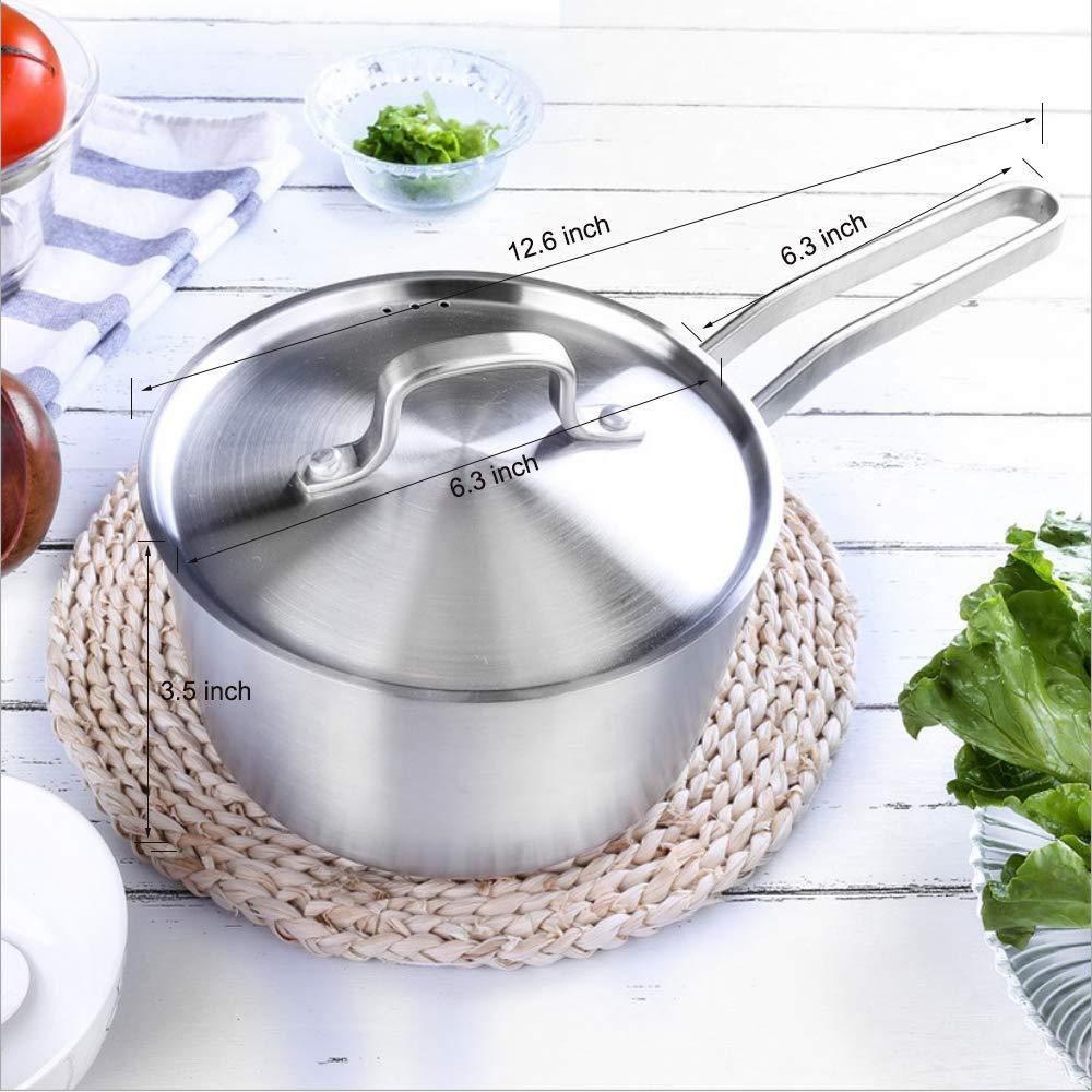 1.5 Quart Stainless Steel Saucepan with Lid,Sauce Pot Pan Mike Pan