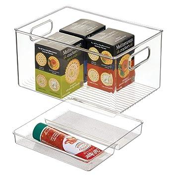 mDesign Juego de 2 porta alimentos con bandeja – Prácticas fiambreras apilables para la cocina,