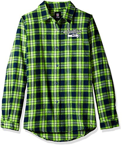 FOCO Seattle Seahawks 2016 Wordmark Basic Flannel Shirt - Womens Medium by FOCO
