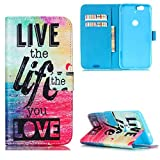 Nexus 6P Case,JanCalm [Kickstand] Pattern Premium PU Leather Wallet [Card/Cash Slots] Flip Cover for Huawei Google Nexus 6P Devices (2015)Including-ONE Crystal Pen (Live The Life You Love)