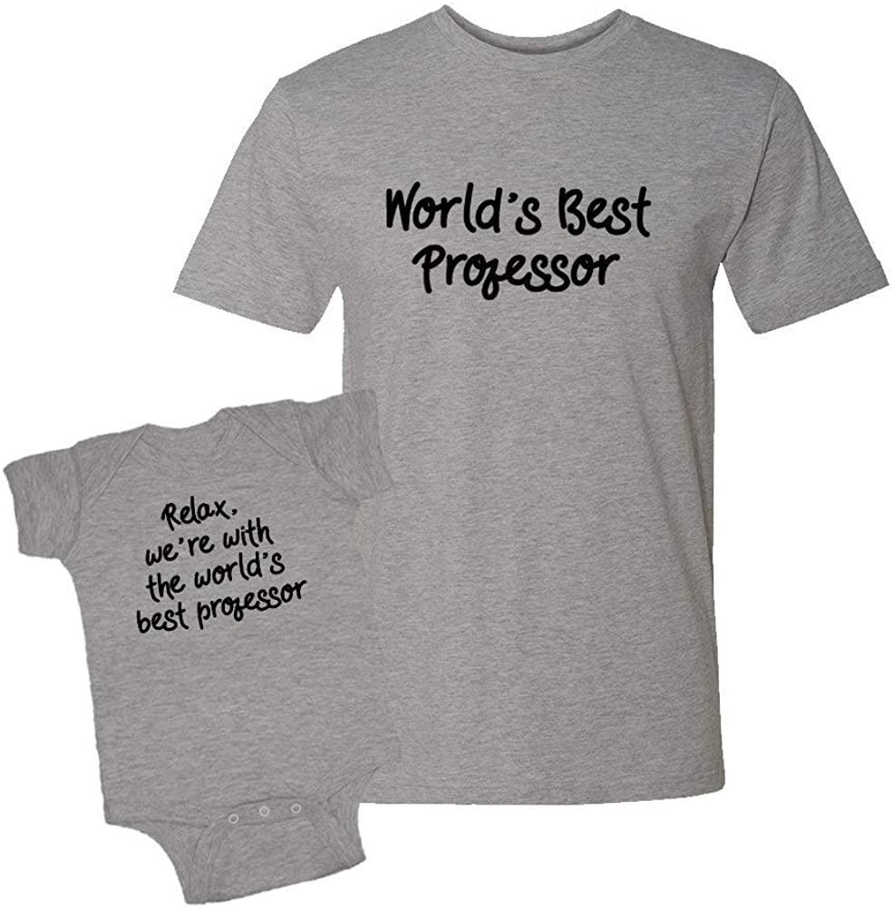 Worlds Best Professor Infant Bodysuit /& T-Shirt Matching Set