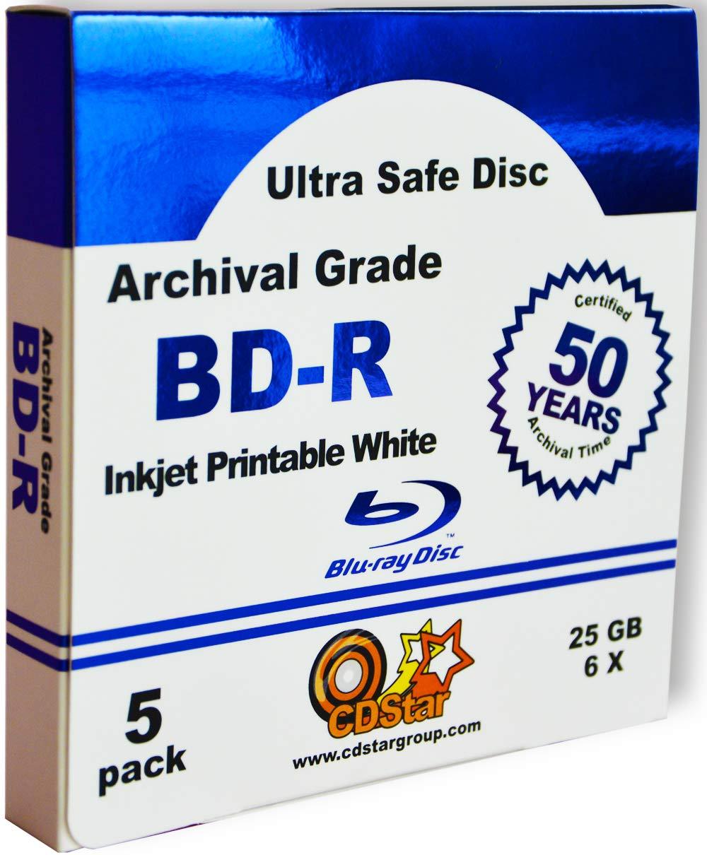 Ultra Safe Disc Archival Grade Printable inkjet shining blu pack 5 pcs CD Star Blu Ray 25 Gb 50 year archival guarantee