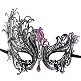ILOVEMASKS Venetian Swan Masquerade Party Mask With Purple Glitter - Black