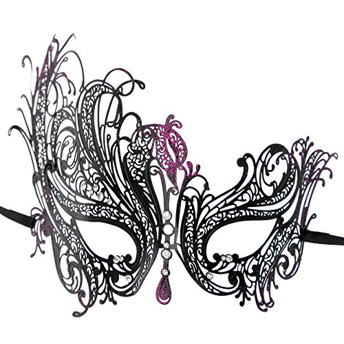 [ILOVEMASKS Venetian Swan Masquerade Party Mask with Purple Glitter - Black] (Black Swan Costumes For Halloween)