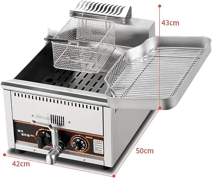 Freidora de Control de Temperatura de Gas Comercial 15 / 18L Freidora de Gas Freidora/Placa Espesada / 160-220 ℃ Control de Temperatura de precisión-Gas Natural: Amazon.es