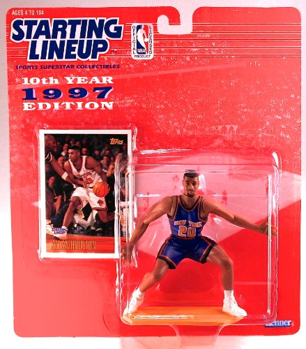 ALLAN HOUSTON / NEW YORK KNICKS * 1997 * NBA Kenner Starting Lineup & Exclusive TOPPS Collector Trading Card