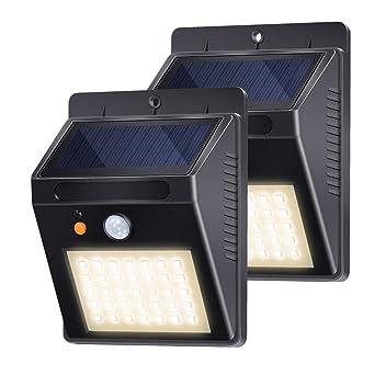 Lampe Solaire Jardin, Lampe Solaire Detecteur de Mouvement 35LED 500lm IP65  étanche avec 3 Modes Intelligents pour l\'éclairage Jardin, Patio, Pont, ...