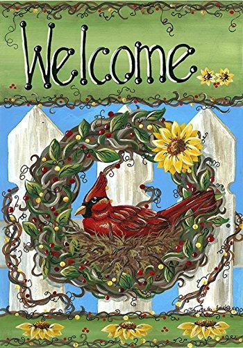 Toland Home Garden Welcome Nest 12.5 x 18 Inch Decorative Red Cardinal Bird Wreath Sunflower Garden Flag