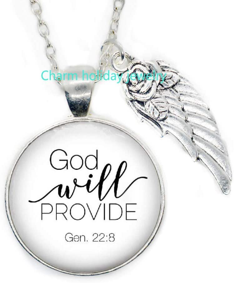 Scripture Necklace,Christian Jewelry,Bible Verse Pendant,God Will Provide,Genesis 22:8,Quote,Christian Gift-#16