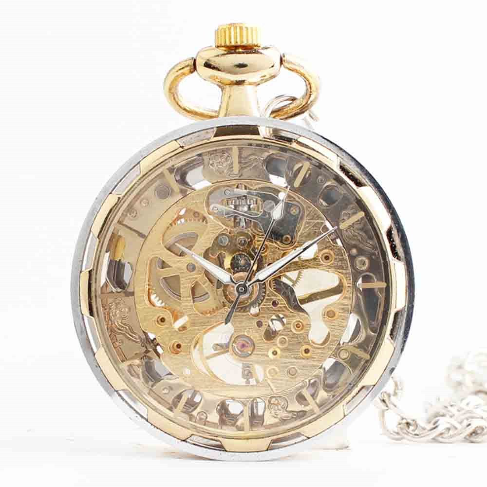 Zxcvlina Classic Smooth Exquisite Unisex Pocket Watch Transparent Women Men Golden Mechanical Pocket Watch with Chain Suitable for Gift Giving by Zxcvlina (Image #2)