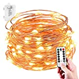 Image of LeMorcy Waterproof String Lights, 8 Modes 33ft 100LED Copper Wire Starry String Lights Battery Powered with Remote Control for Outdoor, Indoor, Wedding, Garden, Christmas, Party