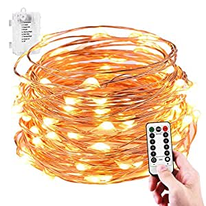 LeMorcy Waterproof String Lights, 8 Modes 33ft 100LED Copper Wire Starry String Lights Battery Powered with Remote Control for Outdoor, Indoor, Wedding, Garden, Christmas, Party