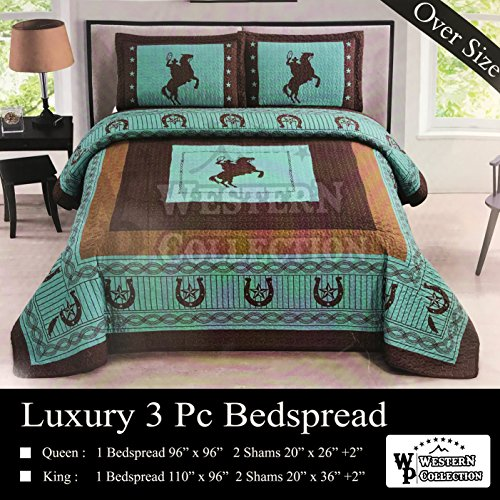Western Peak 3 Pc Luxury Western Texas Cross Praying Cowboy Horse Cabin Lodge Barbed Wire Luxury Quilt Bedspread OVERSIZE Comforter (Oversize Queen, Turquoise Horse)