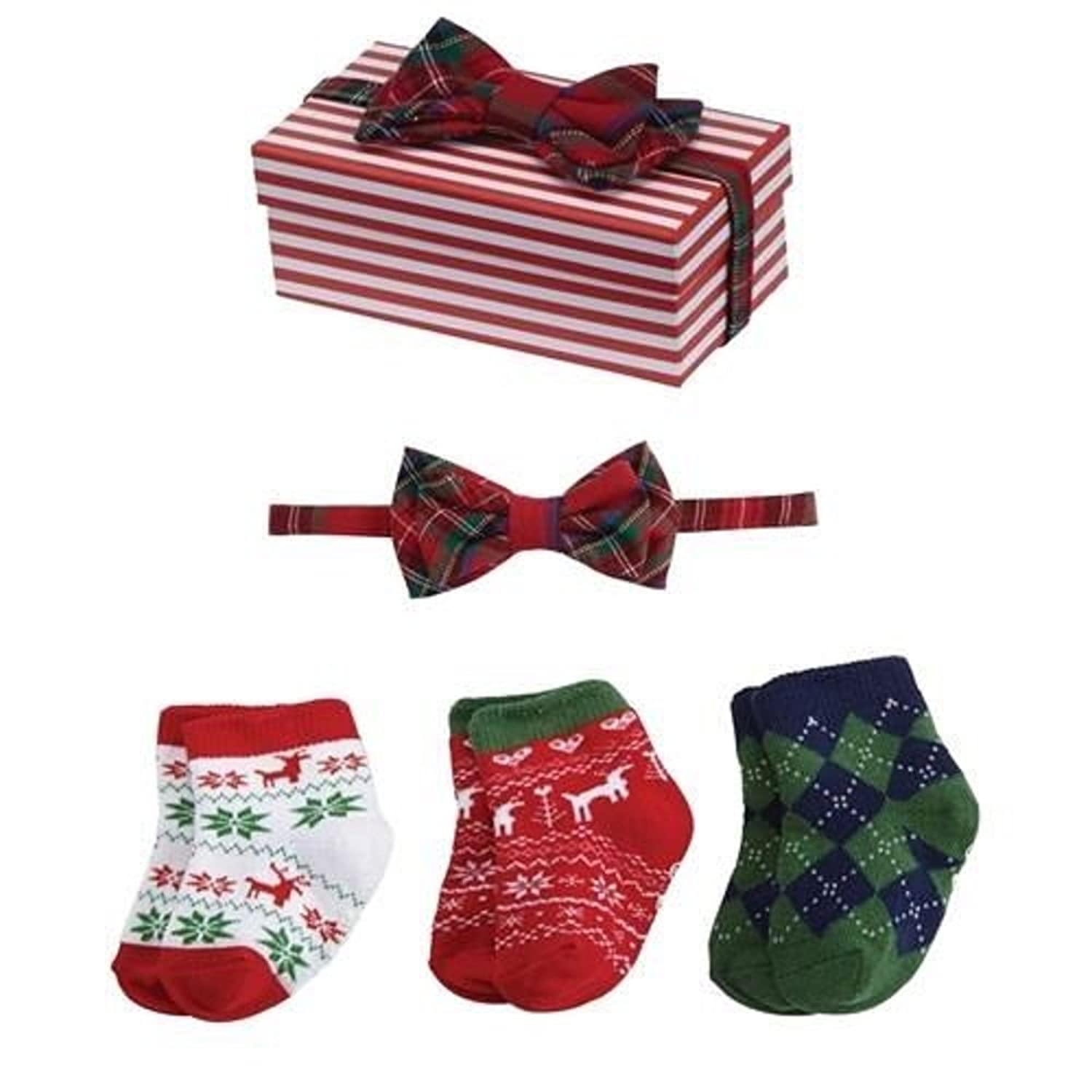 Amazon Mud Pie Christmas Vacation Baby Boy Socks & Bow Tie Set