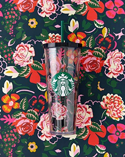 STARBUCKS 2018 ban.do 24 ounce Floral COLD DOUBLE WALLED Tumbler - LIMITED EDITION!