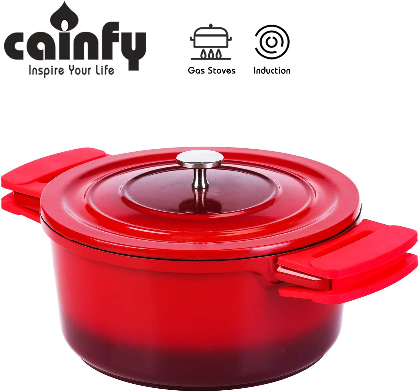 Enameled Cast Aluminum Dutch Oven with Lid 4.5 Quart - Round Bread Baking Cookware Braising Pot - Enameled Coated Casserole Dish with Large Loop Silicone Handles