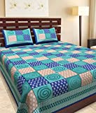 Uniqchoice 144 Tc 100% Cotton Rajasthani Tradition King Size Doble Bedsheet With 2 Pillow Cover