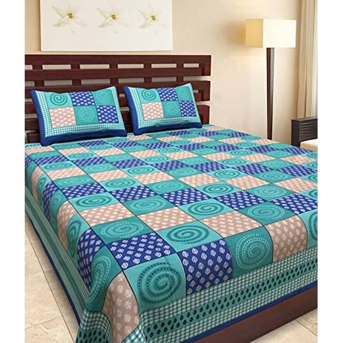 UniqChoice Rajasthani Tradition 180 TC Cotton Double Bedsheet With 2 Pillow  Covers   Blue