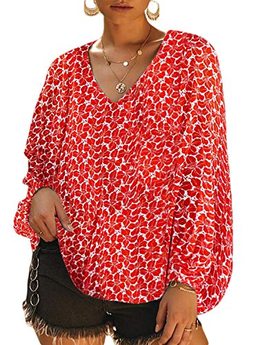 AlvaQ Womens Casual Floral Printed Blouses Fall V Neck Long Balloon Sleeve Shirt Loose Tunic Tops Plus Size Red 2X ()