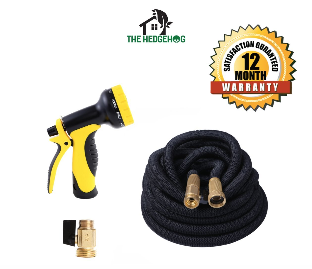 NEW Expandable Garden Hose with Brass Connectors, 10-Pattern Spray Nozzle. High Pressure. Great flexible hose for all of your watering needs! A must add hose pipe for your gardening tools! (100 feet)