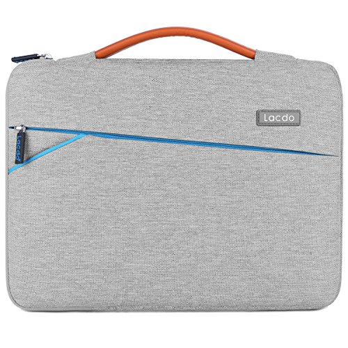 Lacdo 360° Protective Laptop Sleeve Case Briefcase for 15.6 Inch Acer Aspire, Predator, Toshiba, Dell Inspiron, ASUS P-Series, HP Pavilion, Lenovo Chromebook Notebook Bag, Water Repellent, Gray -