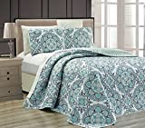 MK Home Mk Collection 3pc King Oversize Reversible Quilted Bedspread Set Floral Light Blue White Gray Navy Blue New