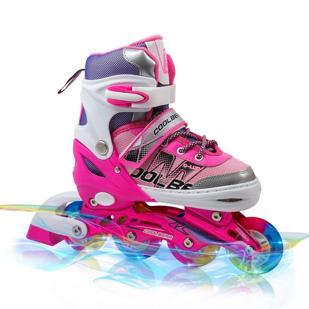 Otw-Cool Adjustable Inline Skates for Kids Girls Rollerblades with All Wheels Light up, Safe and Durable inline roller skates for Girls