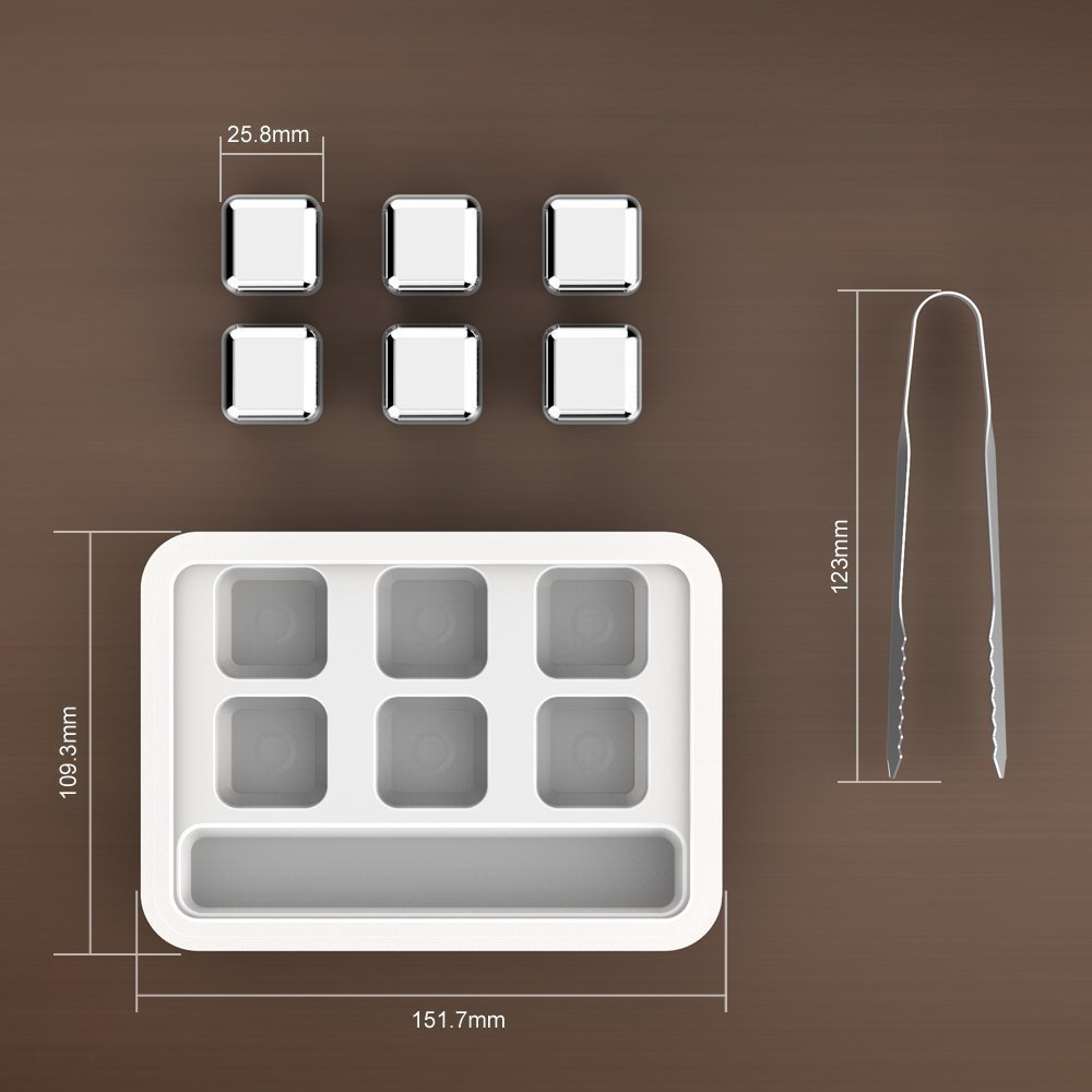 EBeauty Whiskey Stones Reusable Stainless Steel Ice Cubes Chilling Rocks for Wine Beverage Cooling 6 Pieces with a Free Tong