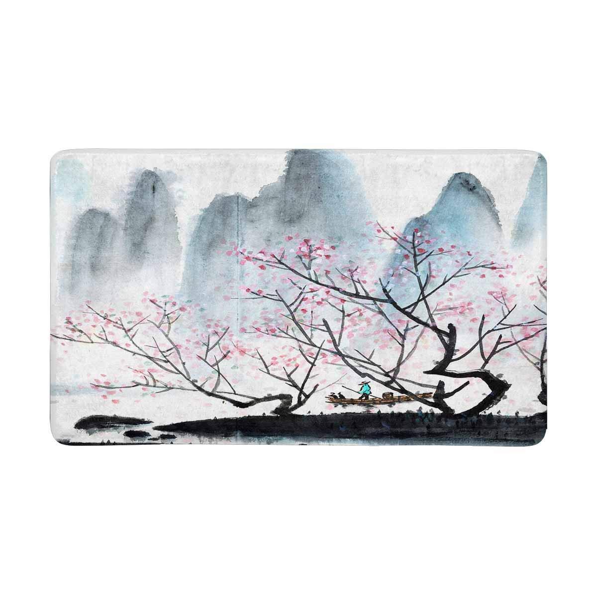 InterestPrint Chinese Landscape Ink Wash Painting Plum Blossom Doormat Indoor Entrance Rug Floor Mats Shoe Scraper Door Mat Non-Slip Home Decor, Rubber Backing Large 30 X 18 Inches