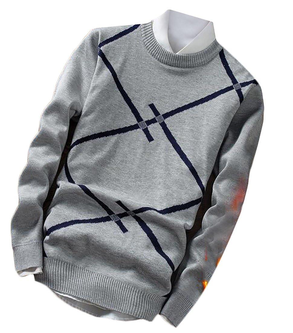 ZXFHZS Mens Winter Classic Long Sleeve Geometric Print Pullover Sweater