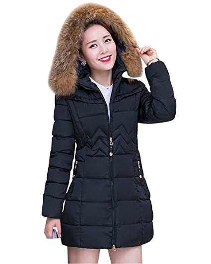 24a0aca0f46 MISSMAO Womens Long Faux Fur Trimmed Hooded Padded Puffer Parka Winter Coat  Jacket for Ladies: Amazon.co.uk: Clothing