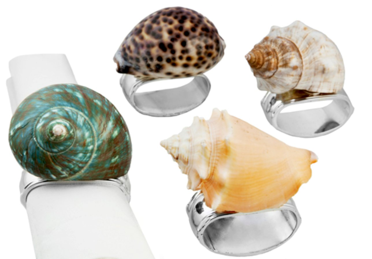 Hans Turnwald Set 4 Beach Napkin Rings Assorted Sea Shell Signed Silverplate Gift Box