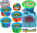 Toysmith Glow Dough Rainbow (Slime/Putty) Complete Gift Set Party Bundle with Exclusive ''Matty's Toy Stop'' Storage Bag - 4 Pack