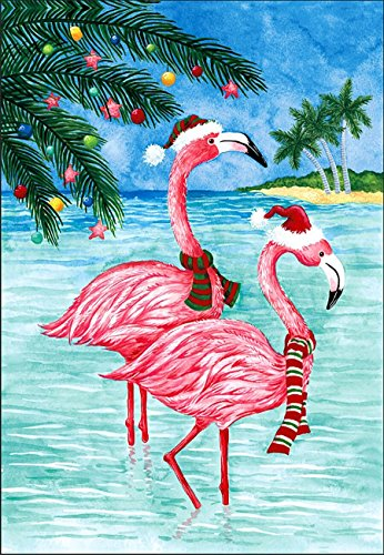 (Briarwood Lane Christmas Flamingos Nautical Garden Flag Tropical Holiday Beach 12.5