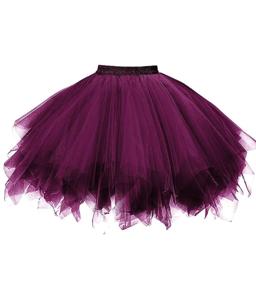Dark Purple Dresstore Women's Short Vintage Petticoat Skirt Ballet Bubble Tutu Multicolord