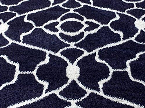 summit elite 67 navy blue white trellis area rug beachfront decor. Black Bedroom Furniture Sets. Home Design Ideas