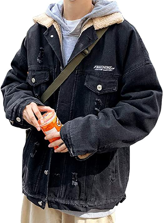 [YYQ-SHOP]メンズ デニムジャケット 裏ボア ゆったり 厚手 ジージャン ダメージ加工 ファッション 防寒 コート 裏起毛 あったか Gジャン カジュアル ストリート系 アウター 秋 冬