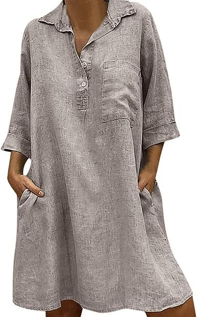 NQB312-Beikoard-Vestidos para Mujer-Vestido de Solapa, Algodón y ...