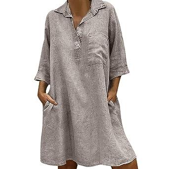 Amazon.com: BFYOU - Vestido de mujer con cuello redondo ...
