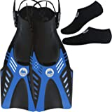 cozia design Swim Fins with Water Socks - Snorkel Fins Swimming Optimized for Ease of use with Neoprene Socks for Extra Comfort